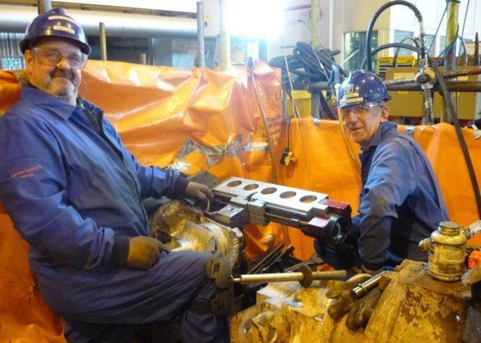onsite machining in a turbine hall